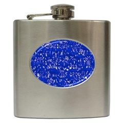 Glossy Abstract Blue Hip Flask (6 oz)