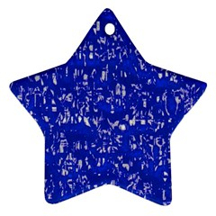 Glossy Abstract Blue Star Ornament (Two Sides)