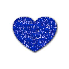 Glossy Abstract Blue Rubber Coaster (Heart)