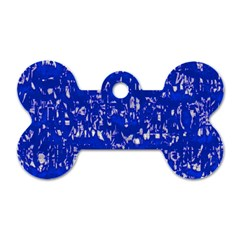 Glossy Abstract Blue Dog Tag Bone (Two Sides)