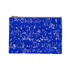 Glossy Abstract Blue Cosmetic Bag (Large)