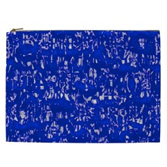 Glossy Abstract Blue Cosmetic Bag (XXL)
