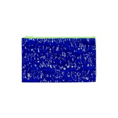 Glossy Abstract Blue Cosmetic Bag (XS)