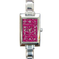 Glossy Abstract Pink Rectangle Italian Charm Watch