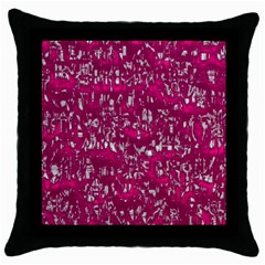 Glossy Abstract Pink Throw Pillow Case (Black)