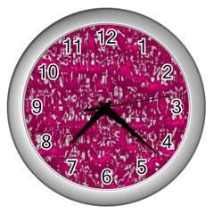 Glossy Abstract Pink Wall Clocks (Silver)