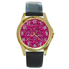 Glossy Abstract Pink Round Gold Metal Watch