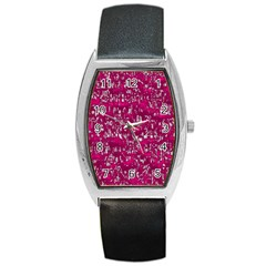 Glossy Abstract Pink Barrel Style Metal Watch