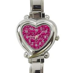 Glossy Abstract Pink Heart Italian Charm Watch