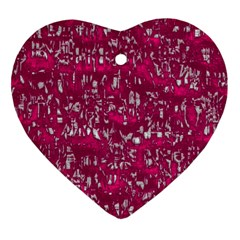 Glossy Abstract Pink Heart Ornament (Two Sides)