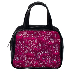 Glossy Abstract Pink Classic Handbags (One Side)