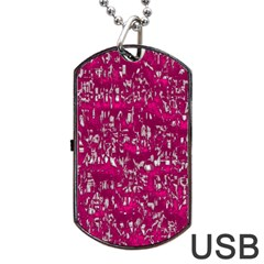 Glossy Abstract Pink Dog Tag USB Flash (One Side)