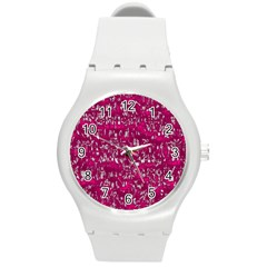 Glossy Abstract Pink Round Plastic Sport Watch (M)
