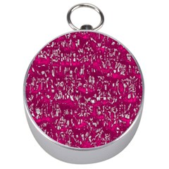 Glossy Abstract Pink Silver Compasses