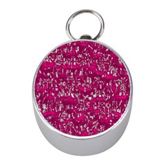 Glossy Abstract Pink Mini Silver Compasses