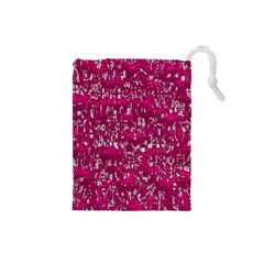 Glossy Abstract Pink Drawstring Pouches (Small)