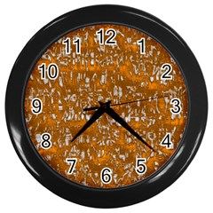Glossy Abstract Orange Wall Clocks (Black)