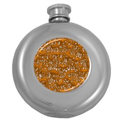 Glossy Abstract Orange Round Hip Flask (5 oz)