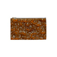 Glossy Abstract Orange Cosmetic Bag (Small)