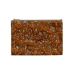 Glossy Abstract Orange Cosmetic Bag (Medium)