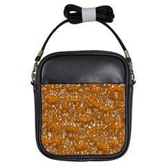 Glossy Abstract Orange Girls Sling Bags