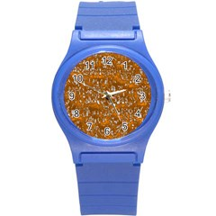 Glossy Abstract Orange Round Plastic Sport Watch (S)