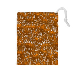 Glossy Abstract Orange Drawstring Pouches (Large)