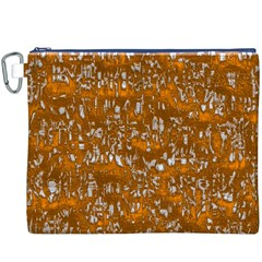 Glossy Abstract Orange Canvas Cosmetic Bag (XXXL)