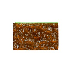 Glossy Abstract Orange Cosmetic Bag (XS)