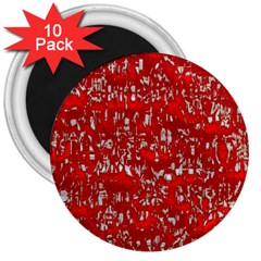 Glossy Abstract Red 3  Magnets (10 pack)