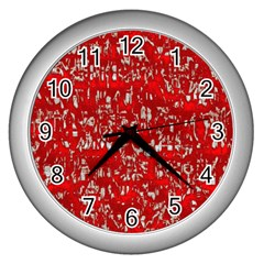 Glossy Abstract Red Wall Clocks (Silver)