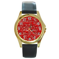 Glossy Abstract Red Round Gold Metal Watch