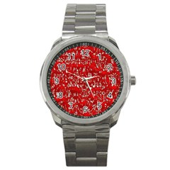Glossy Abstract Red Sport Metal Watch