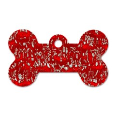 Glossy Abstract Red Dog Tag Bone (two Sides)