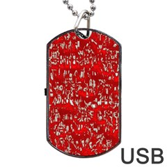 Glossy Abstract Red Dog Tag USB Flash (One Side)