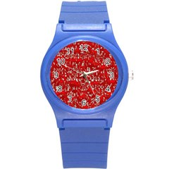 Glossy Abstract Red Round Plastic Sport Watch (s)
