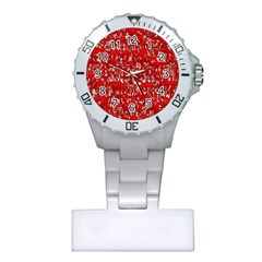 Glossy Abstract Red Plastic Nurses Watch