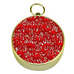 Glossy Abstract Red Gold Compasses