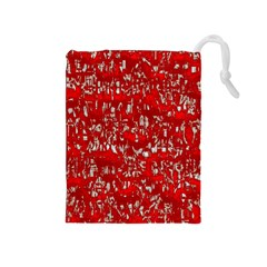 Glossy Abstract Red Drawstring Pouches (medium)