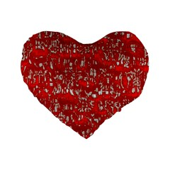 Glossy Abstract Red Standard 16  Premium Flano Heart Shape Cushions