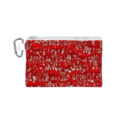 Glossy Abstract Red Canvas Cosmetic Bag (S)