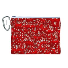 Glossy Abstract Red Canvas Cosmetic Bag (L)