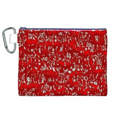 Glossy Abstract Red Canvas Cosmetic Bag (XL)