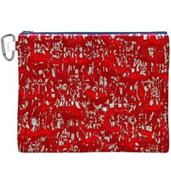 Glossy Abstract Red Canvas Cosmetic Bag (XXXL)