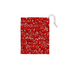 Glossy Abstract Red Drawstring Pouches (XS)