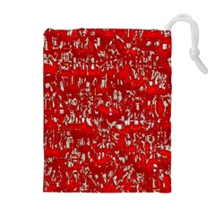 Glossy Abstract Red Drawstring Pouches (Extra Large)