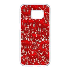 Glossy Abstract Red Samsung Galaxy S7 edge White Seamless Case