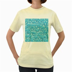 Glossy Abstract Ocean Women s Yellow T-Shirt