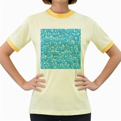 Glossy Abstract Ocean Women s Fitted Ringer T-Shirts