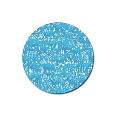 Glossy Abstract Ocean Rubber Coaster (Round)